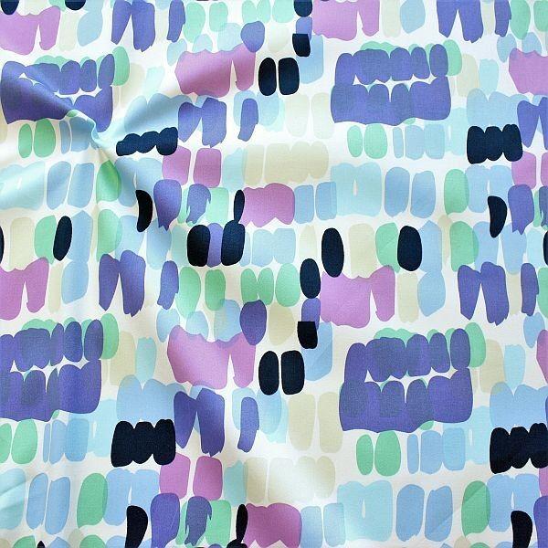 Stretch Baumwolle Satin Fashion Print Blau-Lila