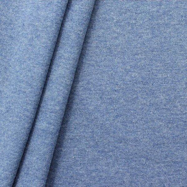 Baumwoll Bündchenstoff glatt Jeans-Blau meliert