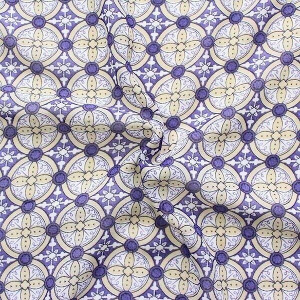 Polyester Chiffon Blüten Ornamente Lila Beige