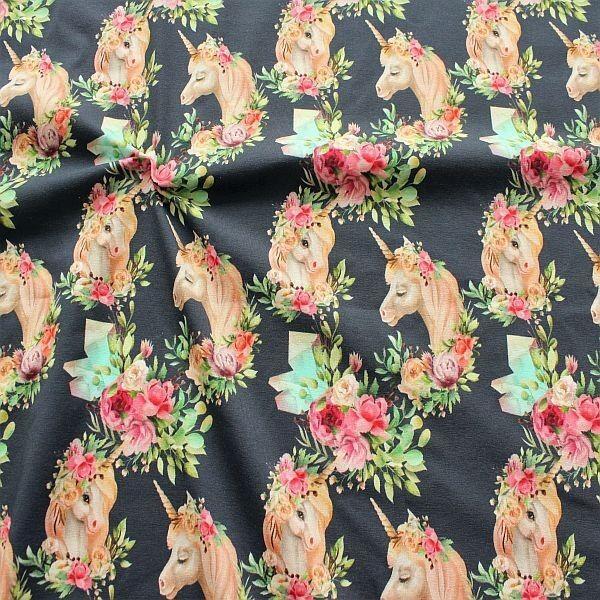 Baumwoll Stretch Jersey Einhörner Boho-Style