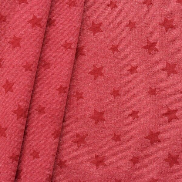 "Baumwoll Bündchenstoff ""Sterne Mix glatt"" Farbe Rot meliert"