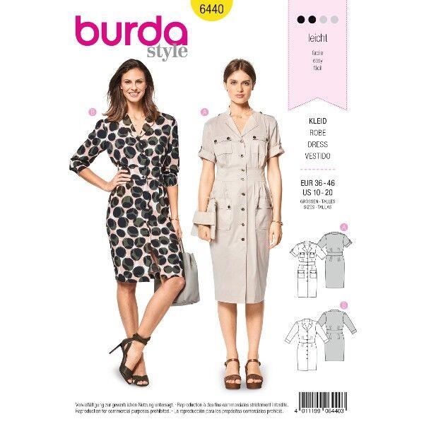 Kleid – Hemdblusenkleid – Safarikleid, Gr. 36 - 46, Schnittmuster Burda 6440