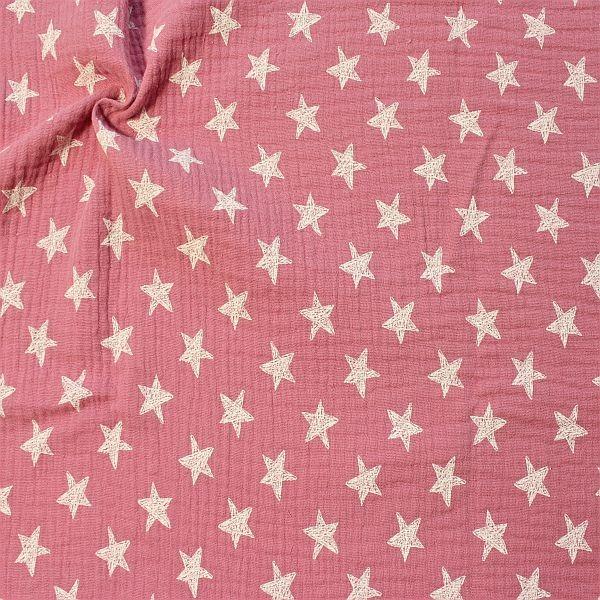 Baumwolle Musselin Sterne Rosa