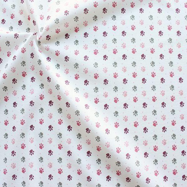 Baumwollstoff Pfötchen Weiss-Rosa