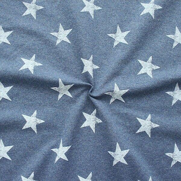 Sweatshirt Baumwollstoff French Terry Sterne Used Look Blau meliert