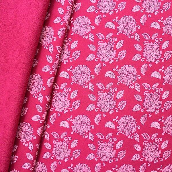 "Softshell Fleece Stoff ""Lotusblüte"" Farbe Pink"