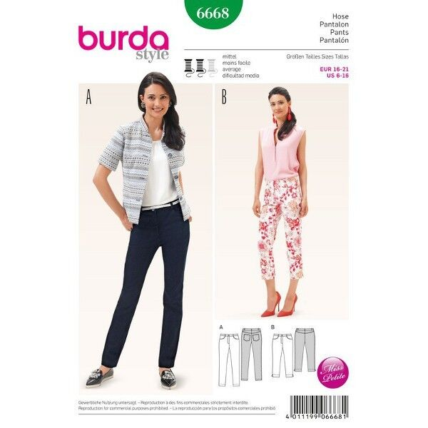 Hose – Jeans – Kurzgrößen, Gr. 16 - 21, Schnittmuster Burda 6668