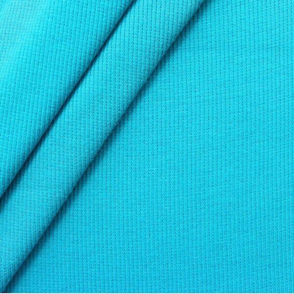 Baumwoll Bündchenstoff Farbe Capri-Blau