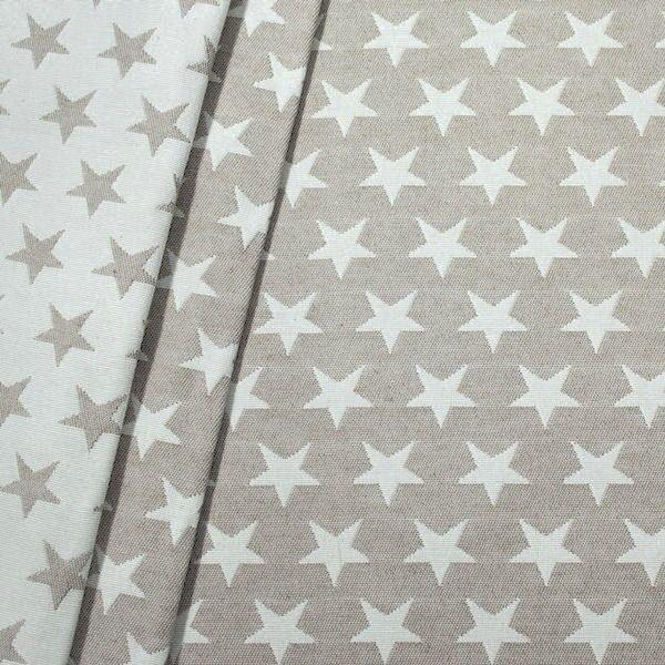 Jacquard Dekostoff Doubleface Stars Beige-Weiss