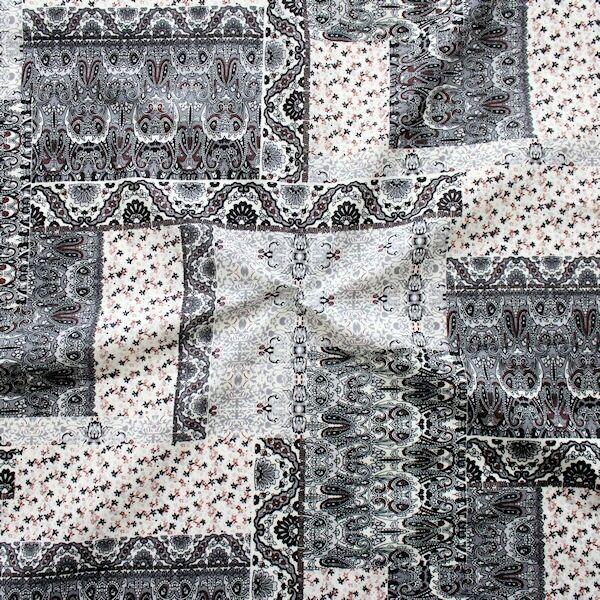 Baumwollstoff Fashion Patchwork Grau-Ecru