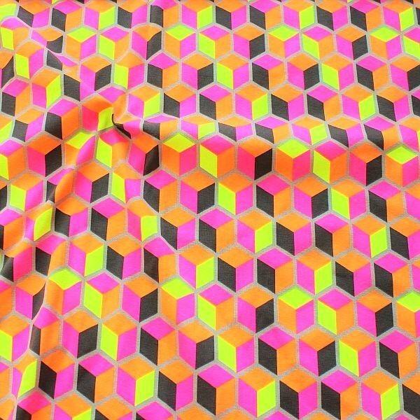 Baumwoll Stretch Jersey Neon Würfel Grau-Multicolor