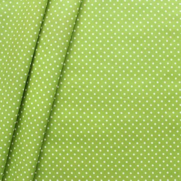 """Baumwollstoff beschichtet """"Punkte klein"""" Farbe Lind-Grün"""