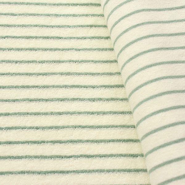Frottee Baumwollstoff Streifen Ecru Mint-Grün
