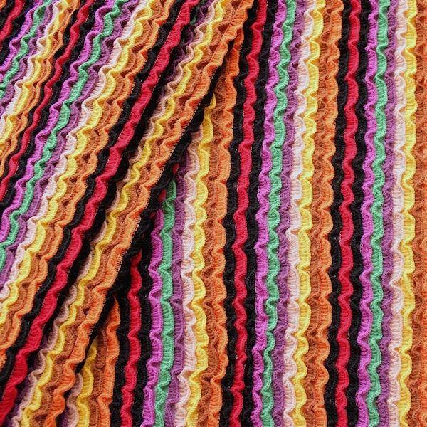 """Strickstoff Rüschenoptik """"Rainbow 2"""" Multicolor"""