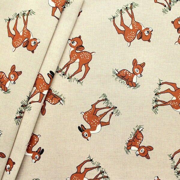 "Dekostoff ""Bambi 2"" Farbe Natur"
