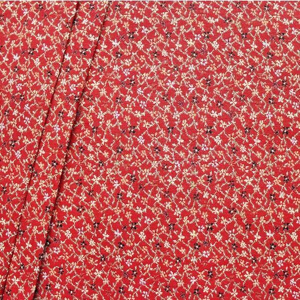 "Gobelin Möbelstoff / Dekostoff ""Blumenranken 5"" Farbe Rot"