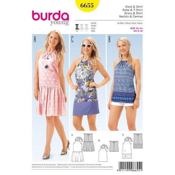 Trägerkleid – Shirt – rückenfrei mit Banddurchzug, Gr. 34 - 44, Schnittmuster Burda 6655