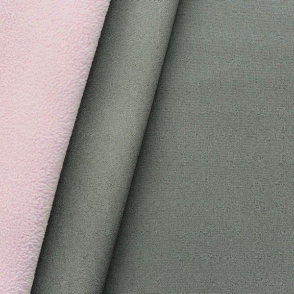 Softshell Fleece Stoff Two Tone Grau-Rosa