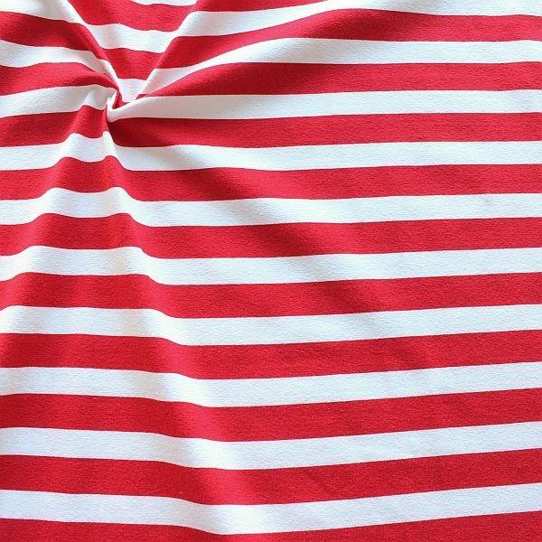 Baumwoll Stretch Jersey Querstreifen Rot-Weiss