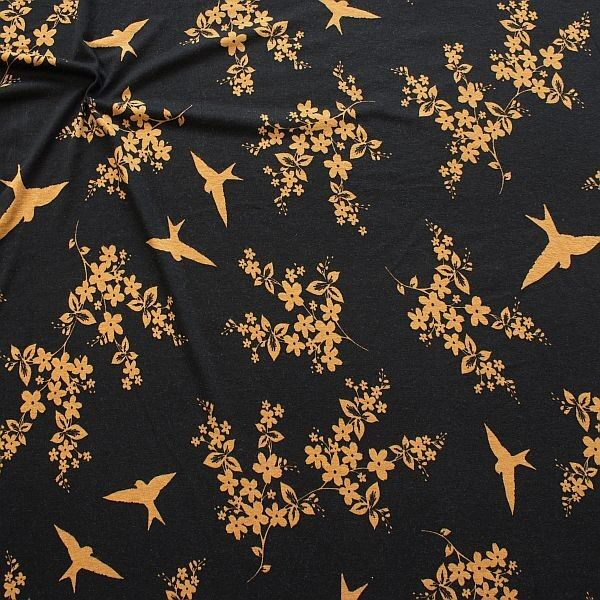 Viskose Stretch Jersey Schwalben & Blütenzweige Schwarz-Ocker