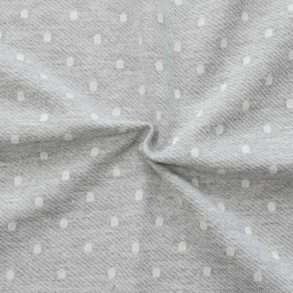 "2,00 Meter 100% Baumwolle Loopback Jersey ""Dots"" Farbe Hell-Grau meliert"