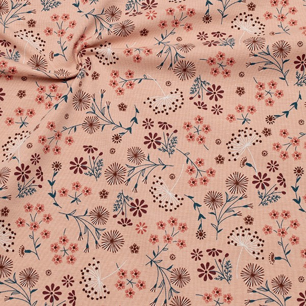 Baumwoll Stretch Jersey Wiesenblumen Mix Alt-Rosa