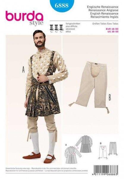 Historisches Kostüm: Jacke – Kniebundhose, Gr. 46 - 60, Schnittmuster Burda 6888