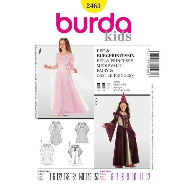 Burda Schnittmuster 2463 Kostüm für Mädchen Fee, Prinzessin – Burgprinzessin