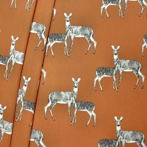 """Design Dekostoff Halbpanama """"Deer"""" Farbe Kupfer-Braun"""