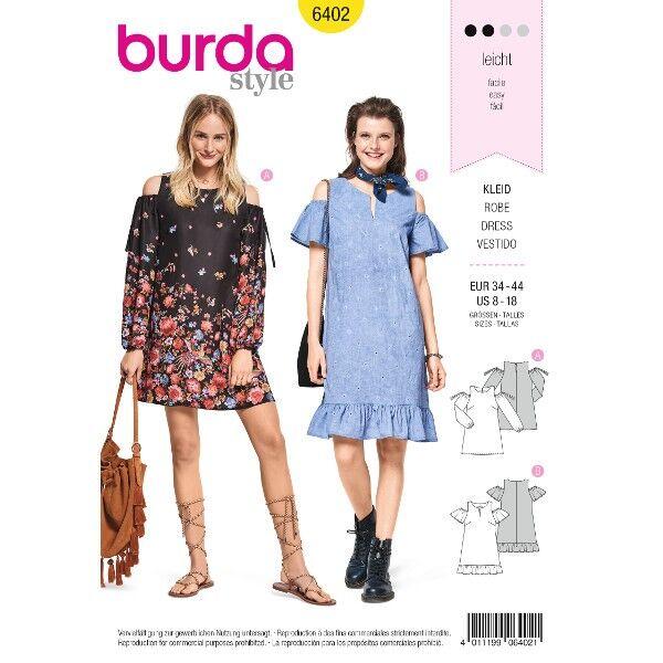 Ausgestelltes Kleid – Schulter Cut-Outs – Saumrüsche, Gr. 34 - 44, Schnittmuster Burda 6402