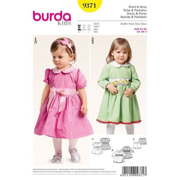 Kleidchen - Bubikragen - Pumphöschen, Gr. 62 - 92, Schnittmuster Burda 9371
