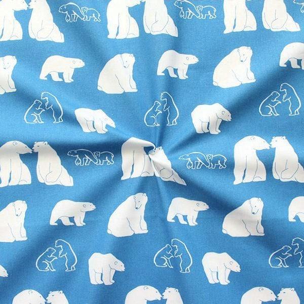 """3,20 Meter 100% Baumwollstoff """"Eisbären"""" Farbe Hell-Blau"""