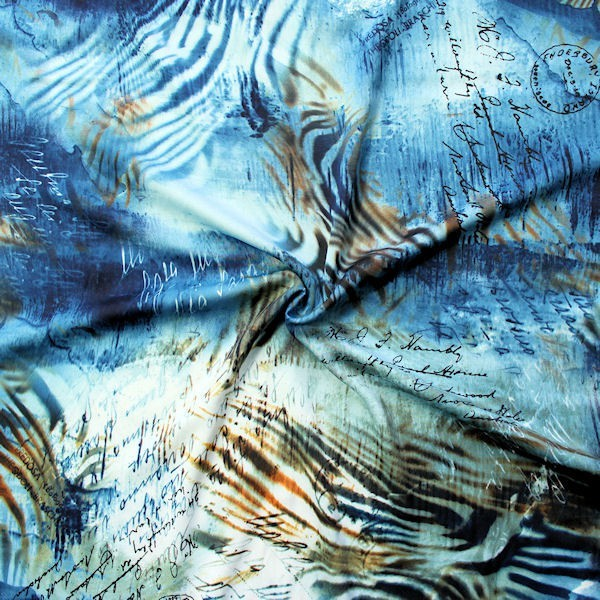 "2,70 Meter Micro Satin Stoff ""Fashion Print 13"" Farbe Blau"