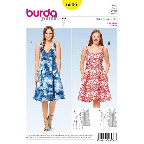 Kleid - Trägerkleid - hohe Taille, Gr. 32 - 44, Schnittmuster Burda 6536