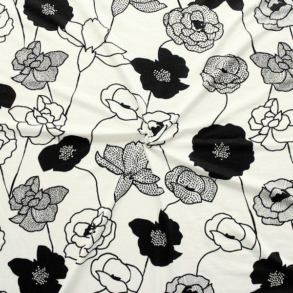 "Viskose Stretch Jersey ""Fashion Flowers 9"" Farbe Ecru-Schwarz"