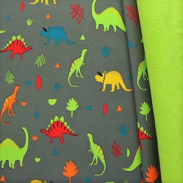 Softshell Fleece Stoff Dino Mix Grau Lind-Grün