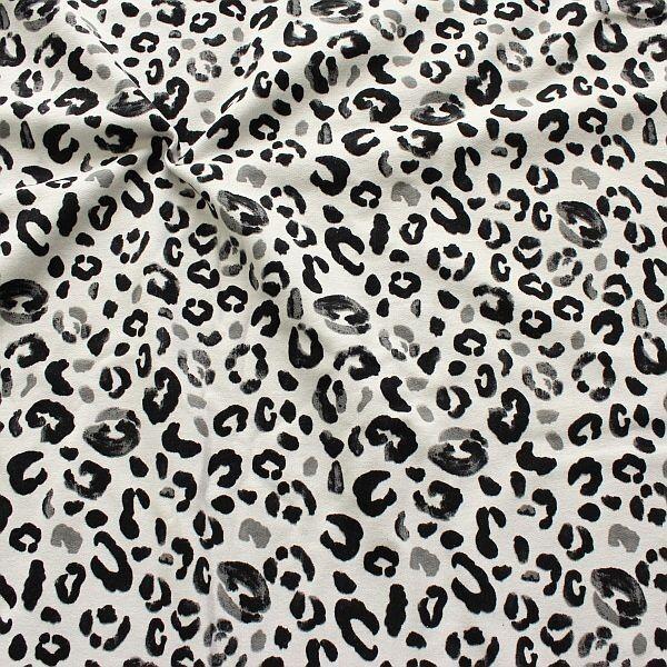 Sweatshirt Baumwollstoff French Terry Leopard Hell-Grau