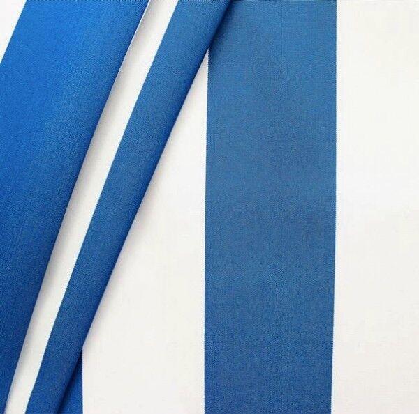 """Markisenstoff / Tuch Breite 120cm """"Blockstreifen"""" Farbe Blau-Weiss"""