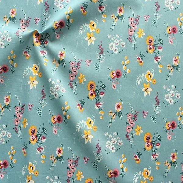 Baumwolle Popeline Flowery Tauben-Blau