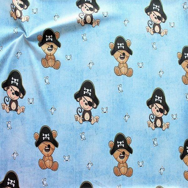 Baumwoll Stretch Jersey Teddy Piraten Blau