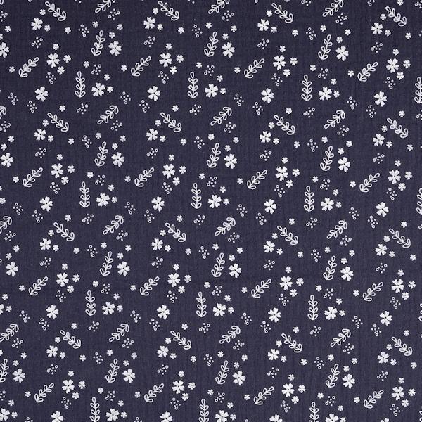 Baumwolle Musselin Double Gauze Blüten Mix Dunkel-Blau