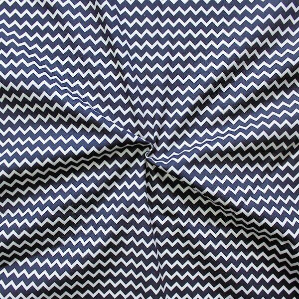 100% Baumwollstoff Wellen Navy-Blau Weiss