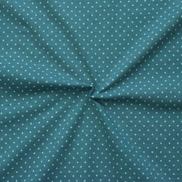Baumwoll Stretch Jersey Punkte klein Petrol-Blau Türkis