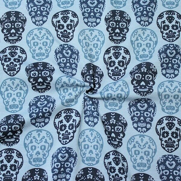Baumwoll Stretch Jersey Flower Power Skulls Blau