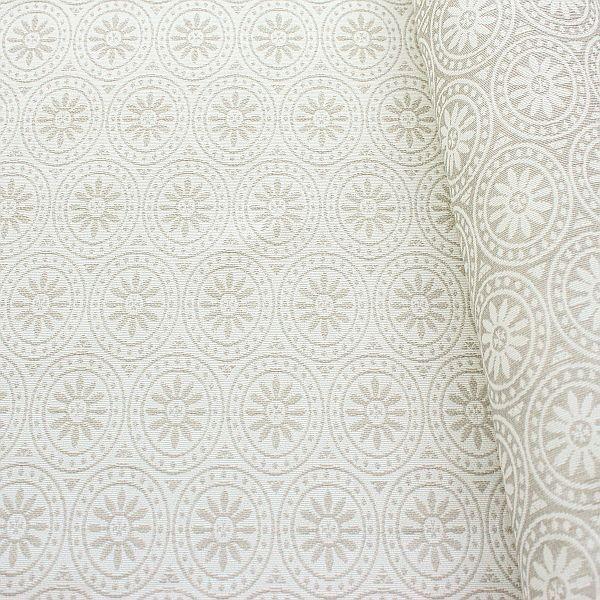 Jacquard Indoorstoff Outdoorstoff Blossom Ring Ecru-Grau