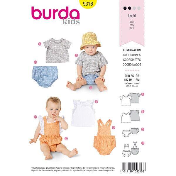 Shirt, Kombination, Gr. 56 - 86, Schnittmuster Burda 9316