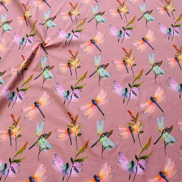 Baumwoll Stretch Jersey Libellen Alt-Rosé