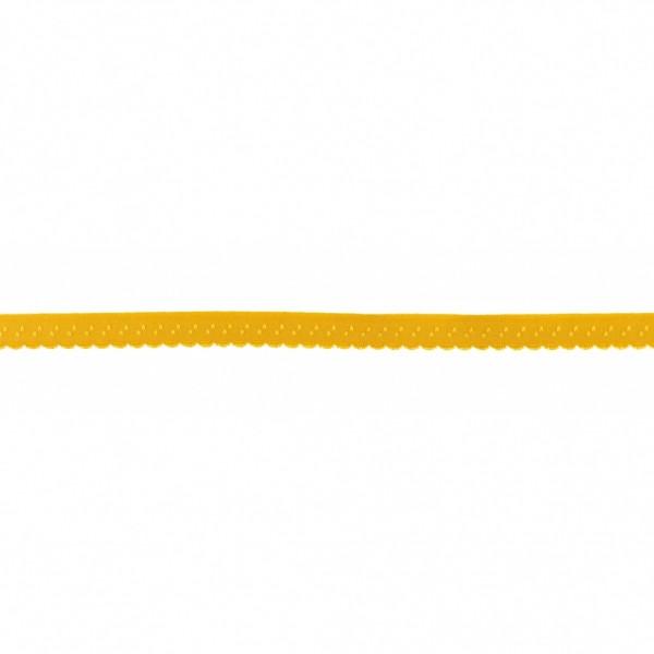 Elastisches Schrägband 12mm Bogenkante Senf-Gelb