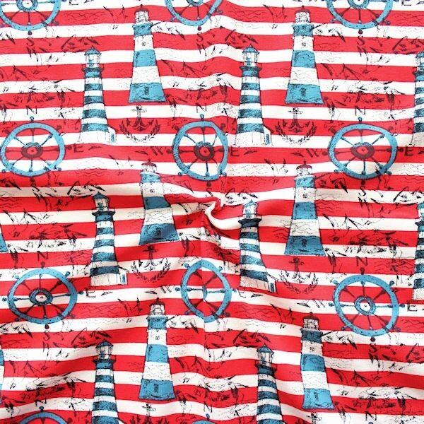 Baumwoll Stretch Jersey Streifen Nautic Mix Rot Weiss