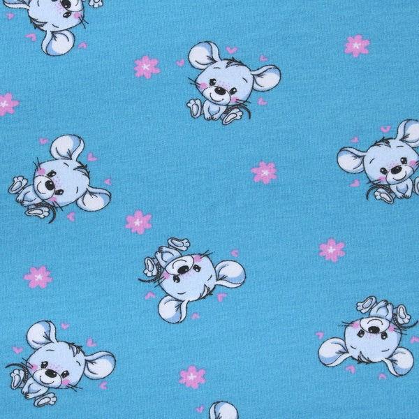 Sweatshirt Baumwollstoff Mäuse Blau